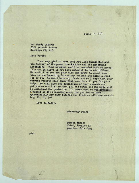 Letter from Duncan Emrich to Woody Guthrie, April 12, 1946