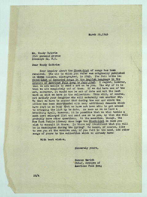 Letter from Duncan Emrich to Woody Guthrie, March 26, 1946