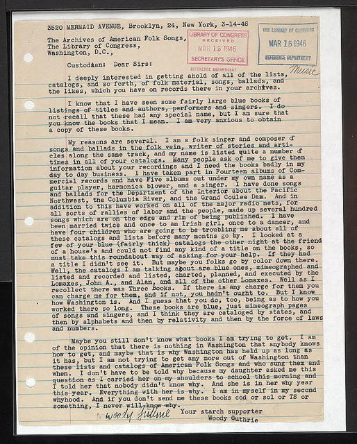 Letter from Woody Guthrie to Archive of American Folk Song, March 14, 1946