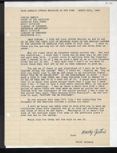 Letter from Woody Guthrie to Duncan Emrich, March 29, 1946