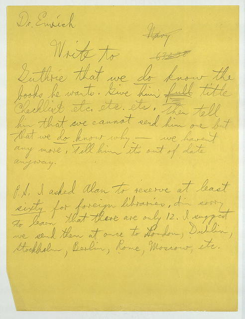 Memo from Harold Spivacke to Duncan Emrich, ca. March 1946