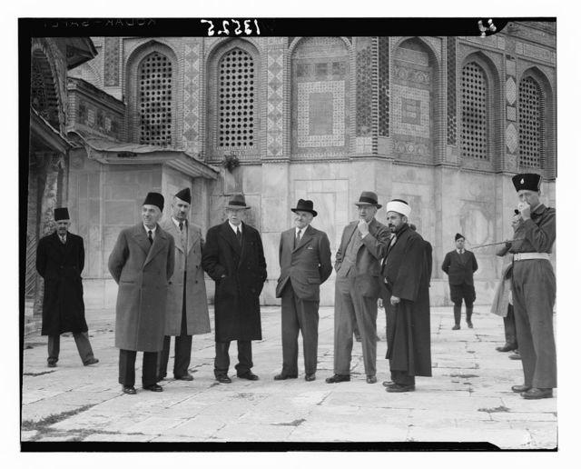 Palestine Inquiry Commission, March 1946. Group near el-Aksa [i.e., al-Aqsa] showing Dome of Rock in backg'd [i.e., background]