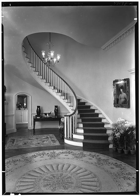 Paul Mellon, residence in Upperville, Virginia. Entrance hall, to staircase