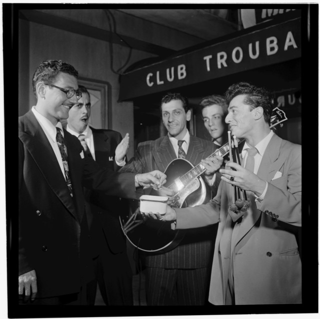 [Portrait of Bill (Buddy) De Arango, Terry Gibbs, and Harry Biss, Club Troubadour, New York, N.Y., between 1946 and 1948]