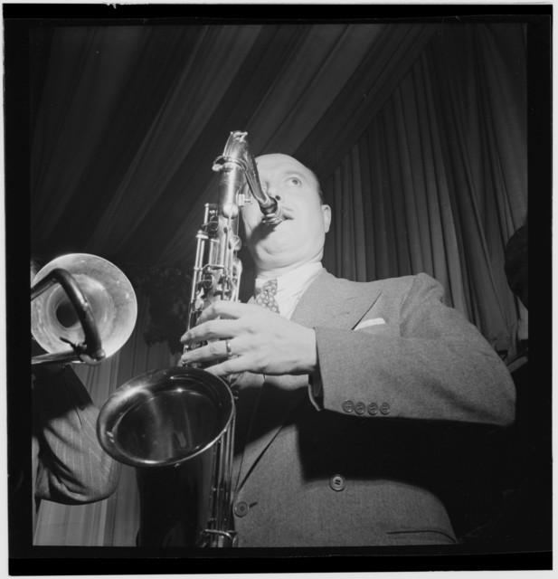 [Portrait of Bud Freeman, Eddie Condon's, New York, N.Y., between 1946 and 1948]