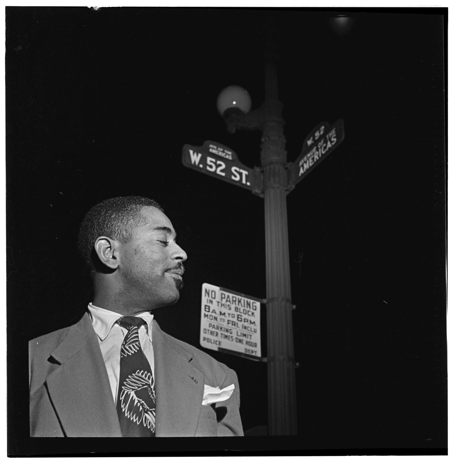 [Portrait of Dizzy Gillespie, 52nd Street, New York, N.Y., between 1946 and 1948]