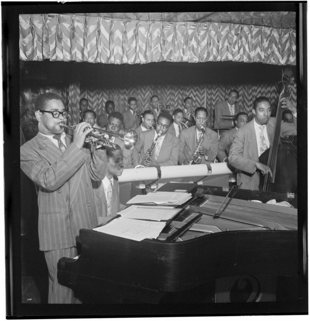 [Portrait of Dizzy Gillespie, John Lewis, Cecil Payne, Miles Davis, and Ray Brown, Downbeat, New York, N.Y., between 1946 and 1948]