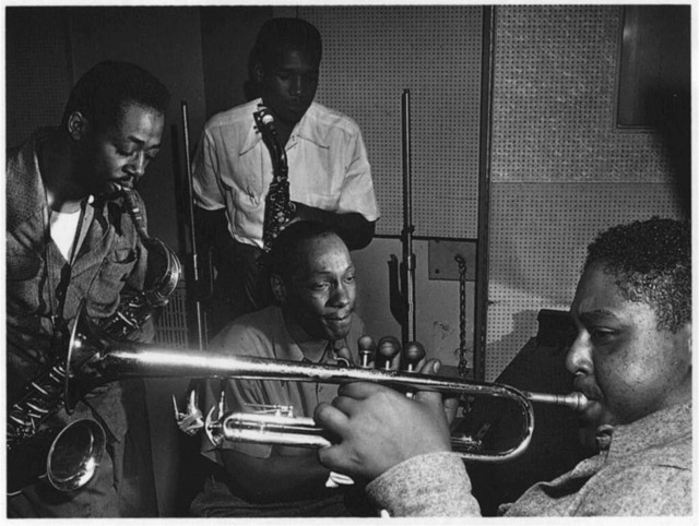 [Portrait of Fats Navarro, Charlie Rouse, Ernie Henry, and Tadd Dameron, New York, N.Y., between 1946 and 1948]