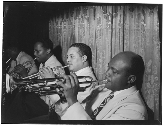 [Portrait of Franc Williams, Harold Baker, and Cat Anderson, Aquarium, New York, N.Y., ca. Nov. 1946]