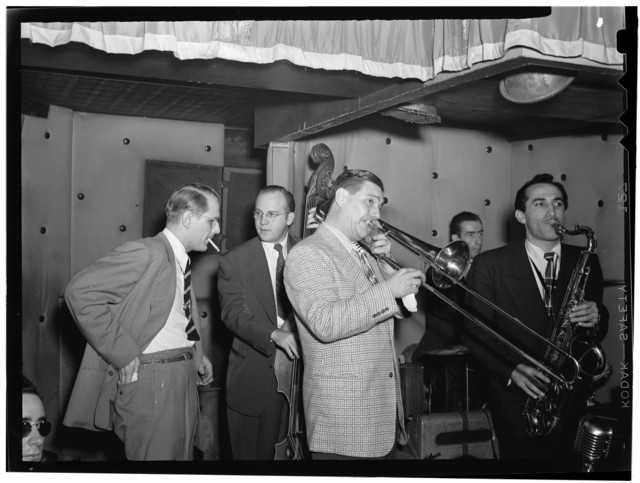[Portrait of Jack Teagarden, Bill Harris, Dave Tough, and Charlie Ventura, Three Deuces, New York, N.Y., between 1946 and 1948]