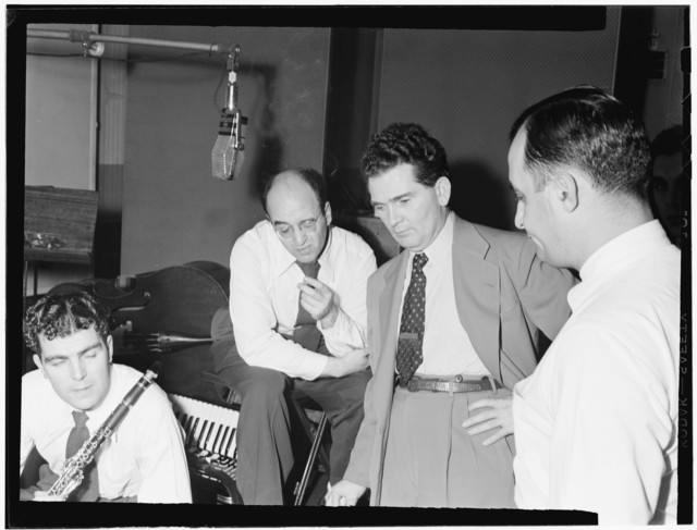 [Portrait of Joe Mooney, Andy Fitzgerald, Gaeton (Gate) Frega, and Morty Palitz, Decca studio, New York, N.Y., ca. Dec. 1946]