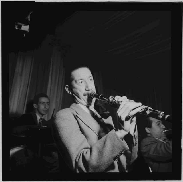 [Portrait of Pee Wee Russell, Dave Tough, and Max Kaminsky, Eddie Condon's, New York, N.Y., between 1946 and 1948]