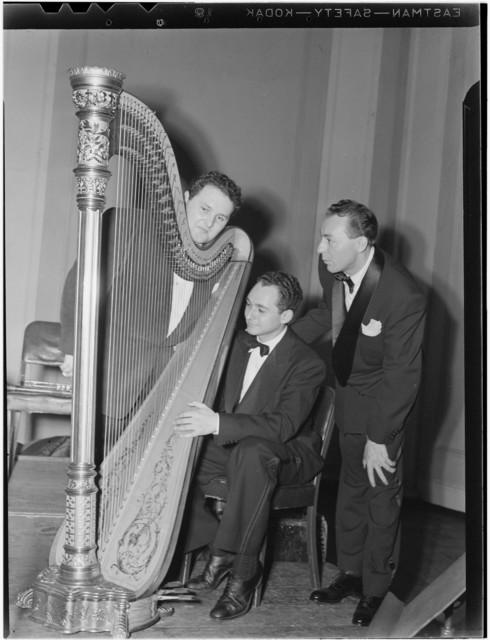 [Portrait of Woody Herman, Chubby Jackson, and Abraham Rosen, Carnegie Hall(?), New York, N.Y., ca. Apr. 1946]