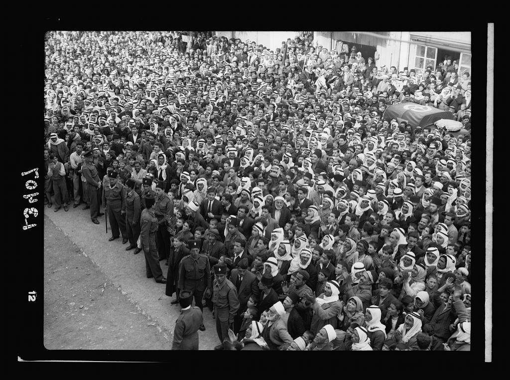 Return to Jerusalem of Jamal Eff. Husseini (after eight years exile). Crowds in Nablus, listening to Jamal Eff.'s political harangue calling of crowds for return to Mufti Eff., etc.