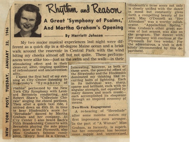 """Rhythm and Reason A Great """"Symphony of Psalms,"""" and Martha Graham's Opening"""