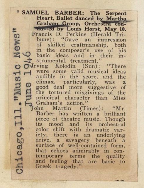 Samuel Barber: The Serpent Heart, Ballet danced by Martha Graham Group