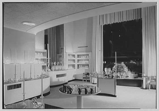 Steuben Glass, business at 718 5th Ave., New York City. View to window