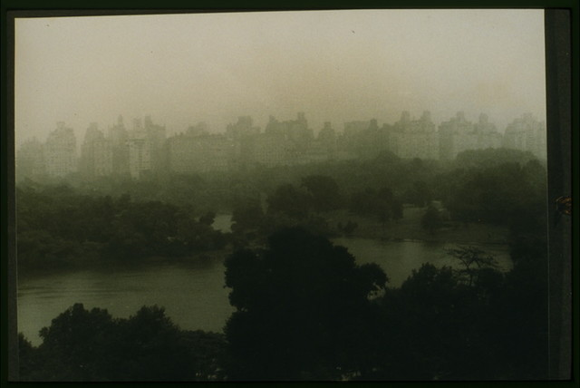 [View from apartment 9D, 146 Central Park West, in the rain, New York City]