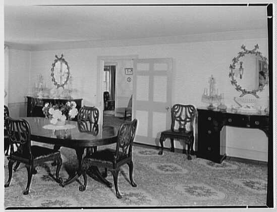 J. Seward Johnson, residence in Oldwick, New Jersey. Dining room, to hall
