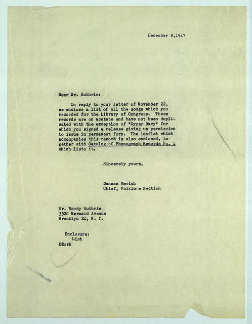 Letter from Duncan Emrich to Woody Guthrie, December 8, 1947