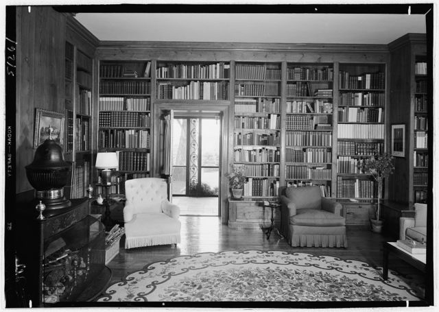Paul Mellon, residence in Upperville, Virginia. Library, to porch