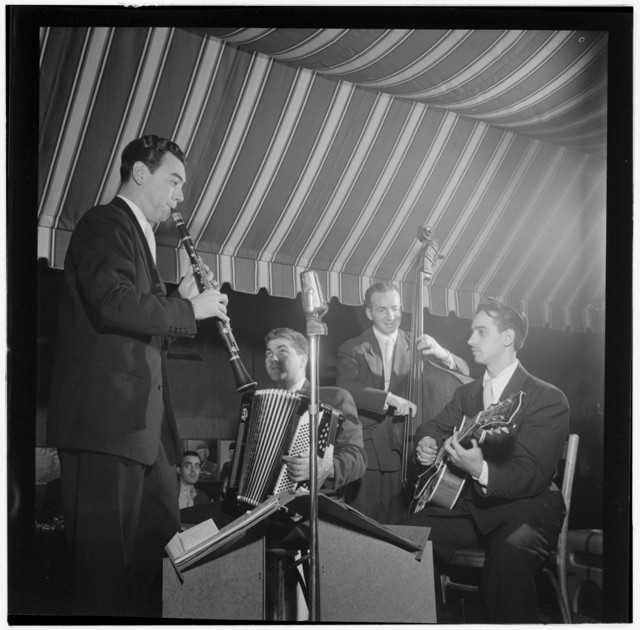 [Portrait of Abe Most, Pete Ponti, Sid Jacobs, and Jimmy Norton, Hickory House, New York, N.Y., ca. June 1947]