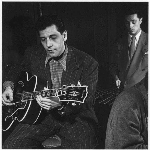 [Portrait of Bill (Buddy) De Arango, Terry Gibbs, and Harry Biss, Three Deuces, New York, N.Y., ca. June 1947]