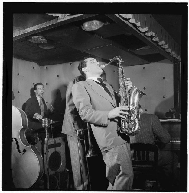 [Portrait of Charlie Ventura, Dave Tough, Bill Harris, and Ralph Burns, Three Deuces, New York, N.Y., ca. Apr. 1947]