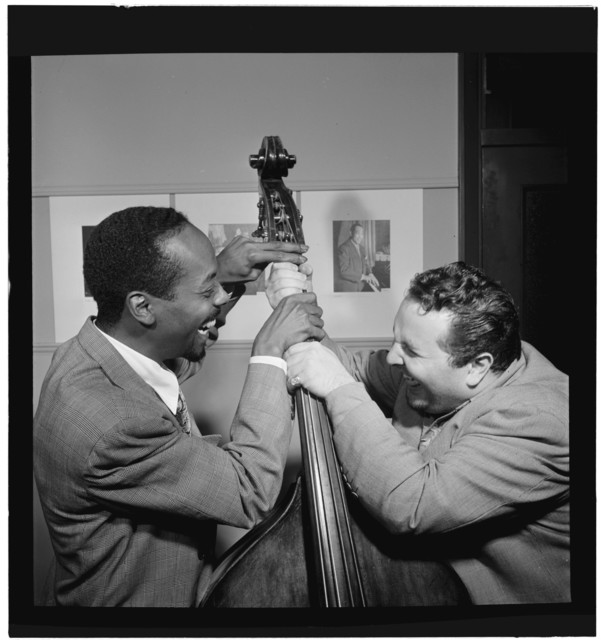 [Portrait of Chubby Jackson and John Simmons, William P. Gottlieb's office, New York, N.Y., ca. July 1947]