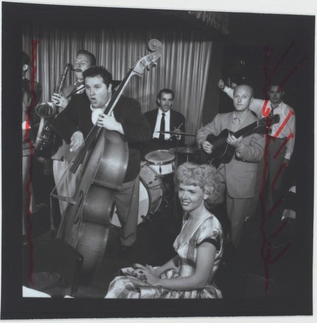 [Portrait of Chubby Jackson, Billy Bauer, and Dottie Reid, Onyx, New York, N.Y., ca. July 1947]