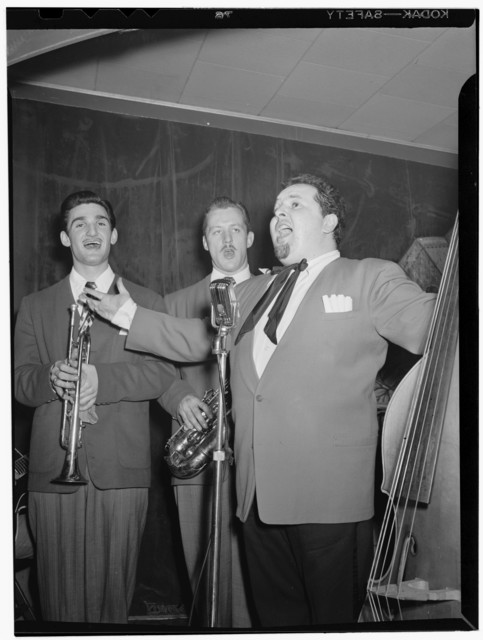 [Portrait of Chubby Jackson, Conte Candoli, and Emmett Carls, Esquire Club, Valley Stream, Long Island, N.Y., ca. Apr. 1947]