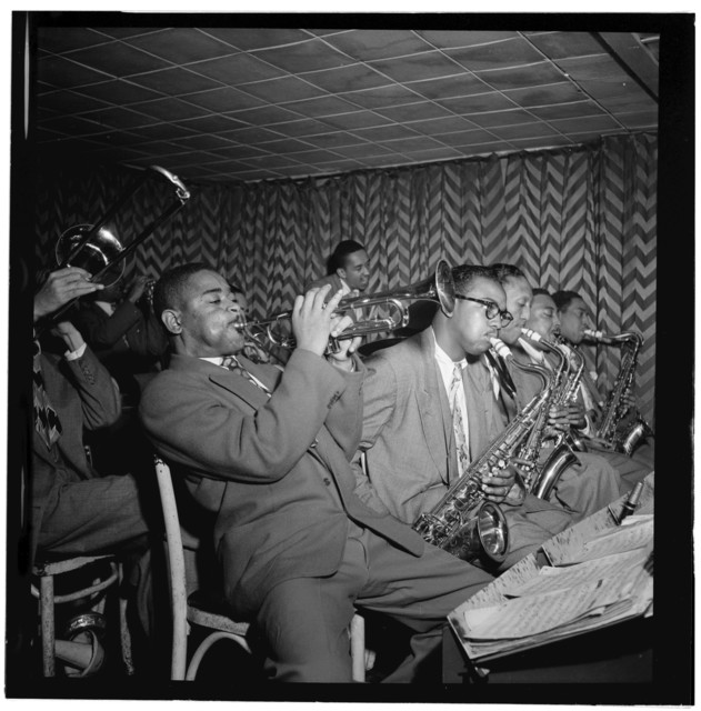 [Portrait of Dizzy Gillespie, James Moody, and Howard Johnson, Downbeat, New York, N.Y., ca. Aug. 1947]
