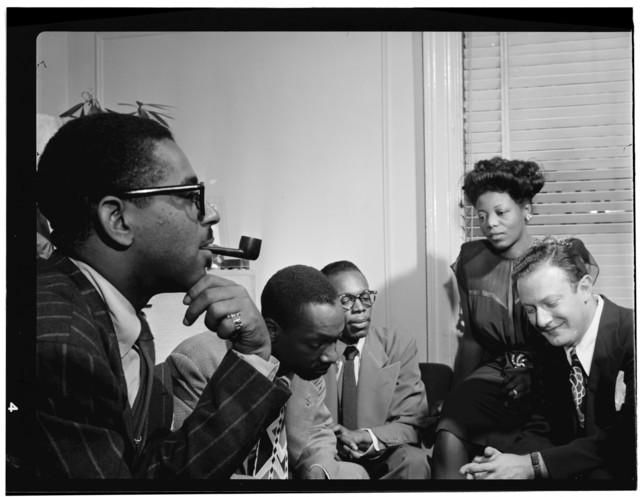 [Portrait of Dizzy Gillespie, Tadd Dameron, Hank Jones, Mary Lou Williams, and Milt Orent, Mary Lou Williams' apartment, New York, N.Y., ca. Aug. 1947]