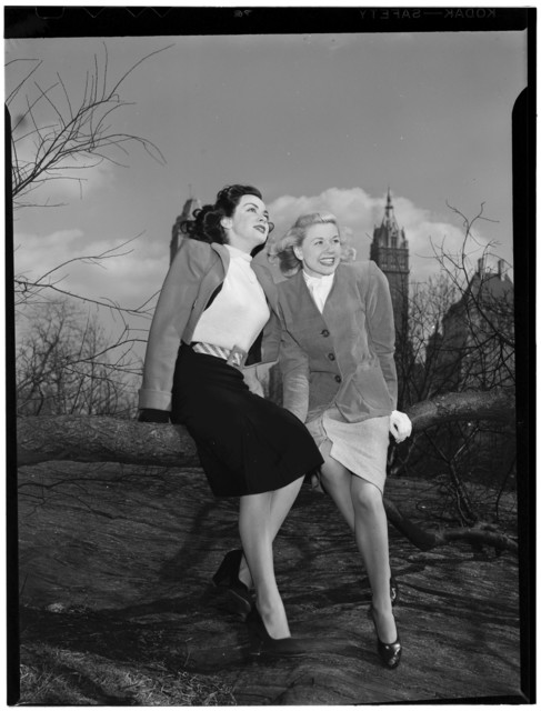 [Portrait of Doris Day and Kitty Kallen, Central Park, New York, N.Y., ca. Apr. 1947]