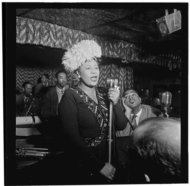 [Portrait of Ella Fitzgerald, Dizzy Gillespie, Ray Brown, Milt (Milton) Jackson, and Timmie Rosenkrantz, Downbeat, New York, N.Y., ca. Sept. 1947]