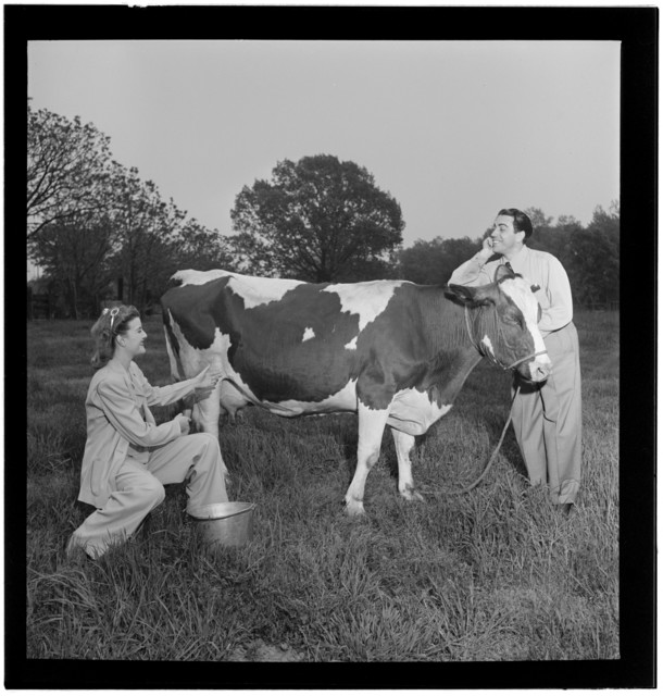 [Portrait of Enric Madriguera and Patricia Gilmore on their farm, Connecticut, ca. June 1947]