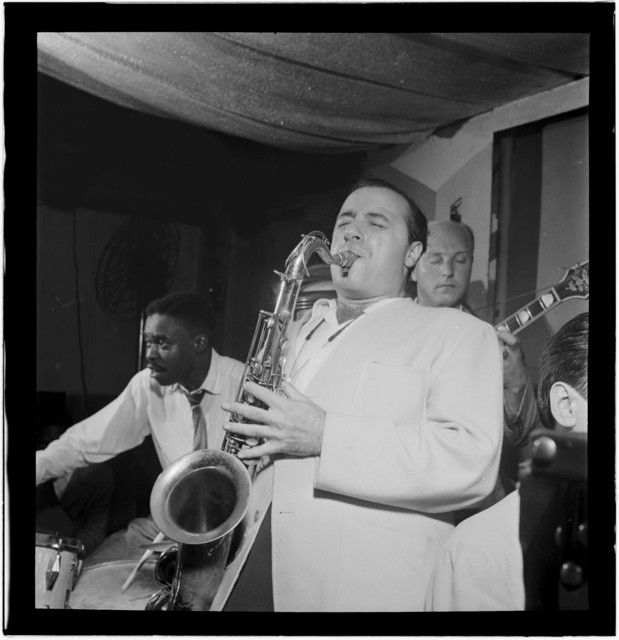 [Portrait of Flip Phillips, Denzil Best, and Billy Bauer, Pied Piper, New York, N.Y., ca. Sept. 1947]