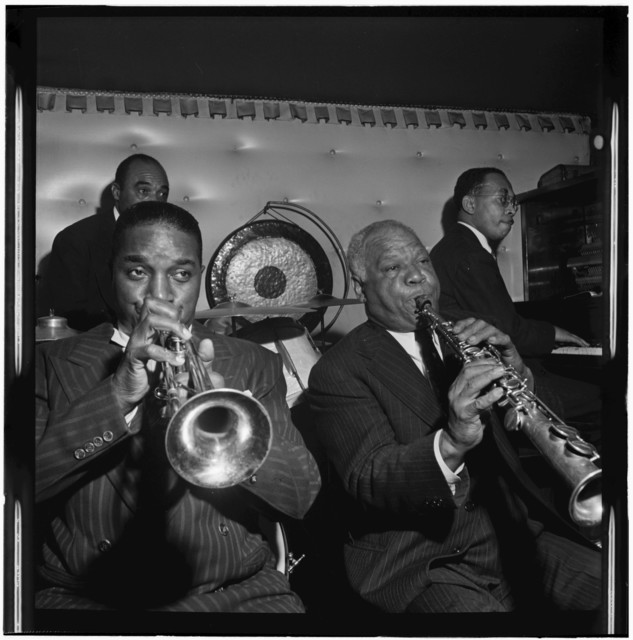 [Portrait of Freddie Moore, Hot Lips Page, Sidney Bechet, and Lloyd Phillips, Jimmy Ryan's (Club), New York, N.Y., ca. June 1947]