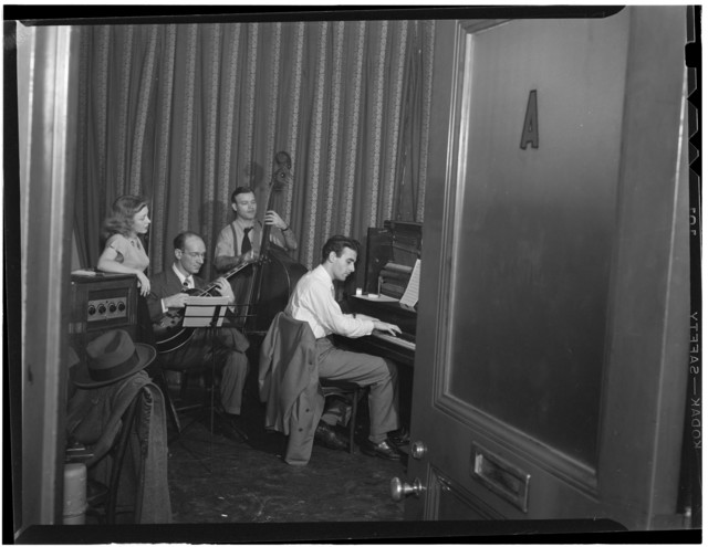 [Portrait of Helen Carr, Sammy Herman, Joe Bianco, and Donn Trenner, Nola's, New York, N.Y., ca. Feb. 1947]