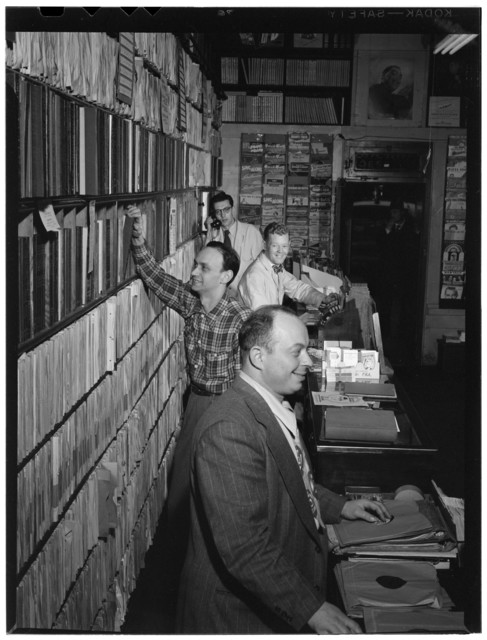 [Portrait of Herbie Hill, Lou Blum, and Jack Crystal, Commodore Record Shop, New York, N.Y., ca. Aug. 1947]