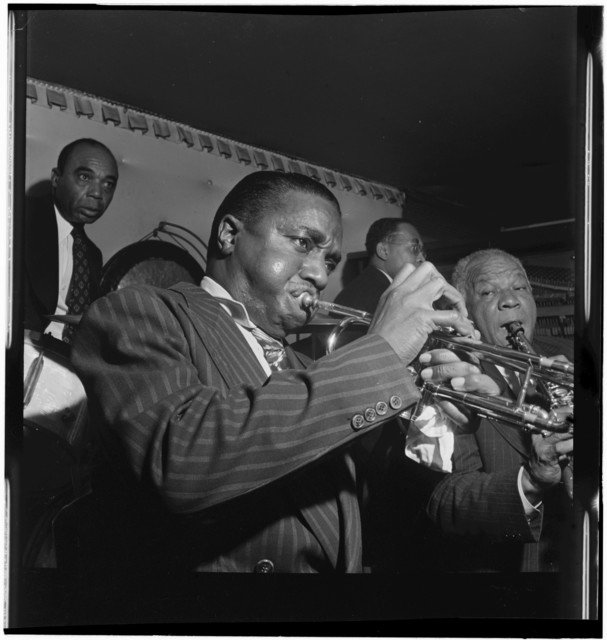 [Portrait of Hot Lips Page, Sidney Bechet, Freddie Moore, and Lloyd Phillips, Jimmy Ryan's (Club), New York, N.Y., ca. June 1947]