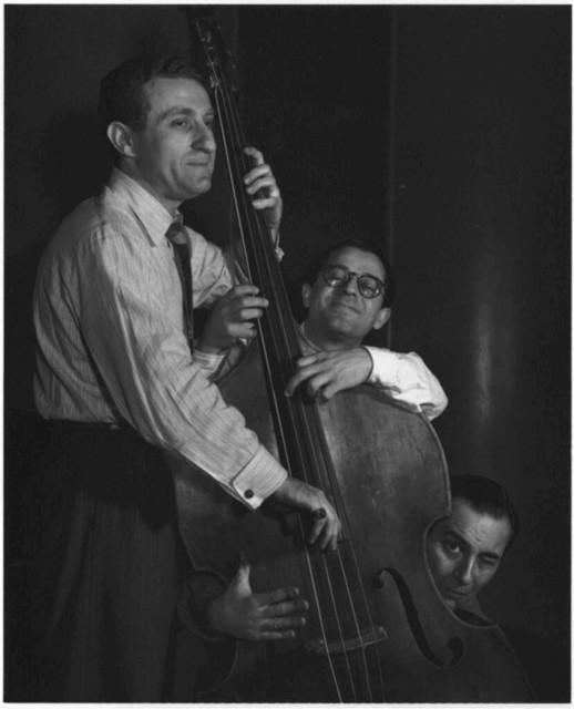 [Portrait of Jack Lesberg, Max Kaminsky, and Peanuts Hucko, Eddie Condon's, New York, N.Y., ca. May 1947]