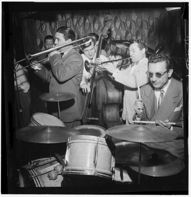 [Portrait of Jack Teagarden, Jack Lesberg, and Max Kaminsky, Famous Door, New York, N.Y., ca. July 1947]
