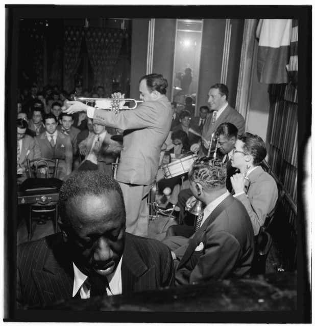 [Portrait of James P. (James Price) Johnson, Marty Marsala, Albert Nicholas, Johnny Windhurst, Sandy Williams, and Danny Alvin, Webster Hall, New York, N.Y., May 9, 1947]