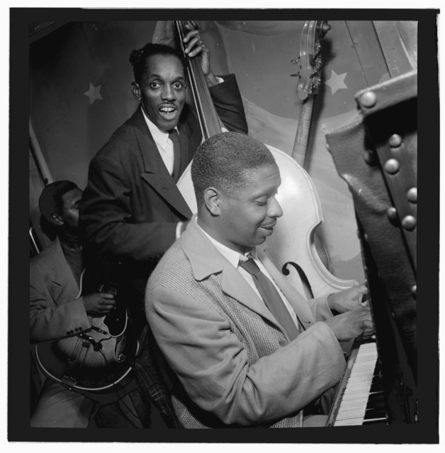 [Portrait of Jimmy Jones, John (O.) Levy, and Al Casey(?), Pied Piper, New York, N.Y., ca. Sept. 1947]