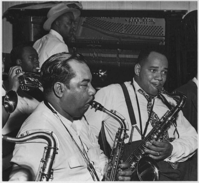 [Portrait of Joe Thomas, Eddie Wilcox, and Omer Simeon, Loyal Charles Lodge No. 167, New York, N.Y., ca. Oct. 1947]