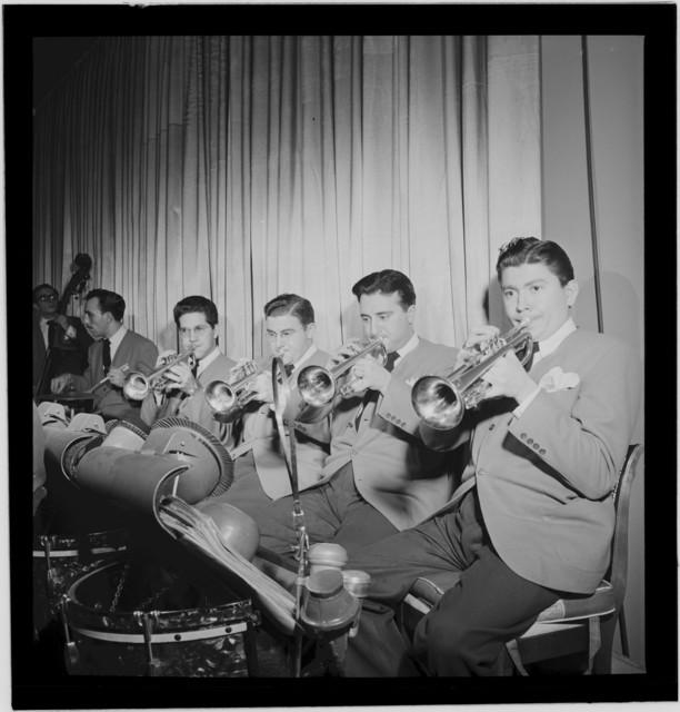 [Portrait of John Chance, Paul Kashian, Nick Travis, Chuck Genduso, Joe Ferrante, and Curly Broyles, Hotel Commodore, Century Room, New York, N.Y., ca. Jan. 1947]
