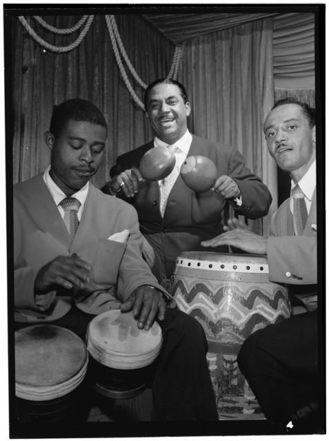 [Portrait of Machito, Jose Mangual, and Carlos Vidal(?), Glen Island Casino, New York, N.Y., ca. July 1947]