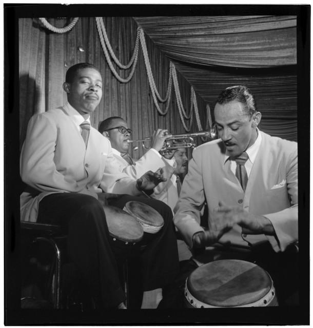 [Portrait of Mario Bouza, Jose Mangual, Carlos Vidal(?), and Ubaldo Nieto, Glen Island Casino, New York, N.Y., ca. July 1947]