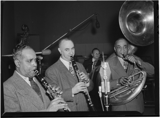 [Portrait of Mezz Mezzrow, Albert Nicholas, and Sy Sinclair, New York, N.Y., ca. Jan. 1947]